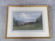 A framed and glazed 20th century watercolour landscape 'The Thames from Greenwich park. Signed