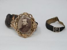 A Victorian yellow metal mourning bracelet and one rose cut diamond silk bracelet. A swivel oval