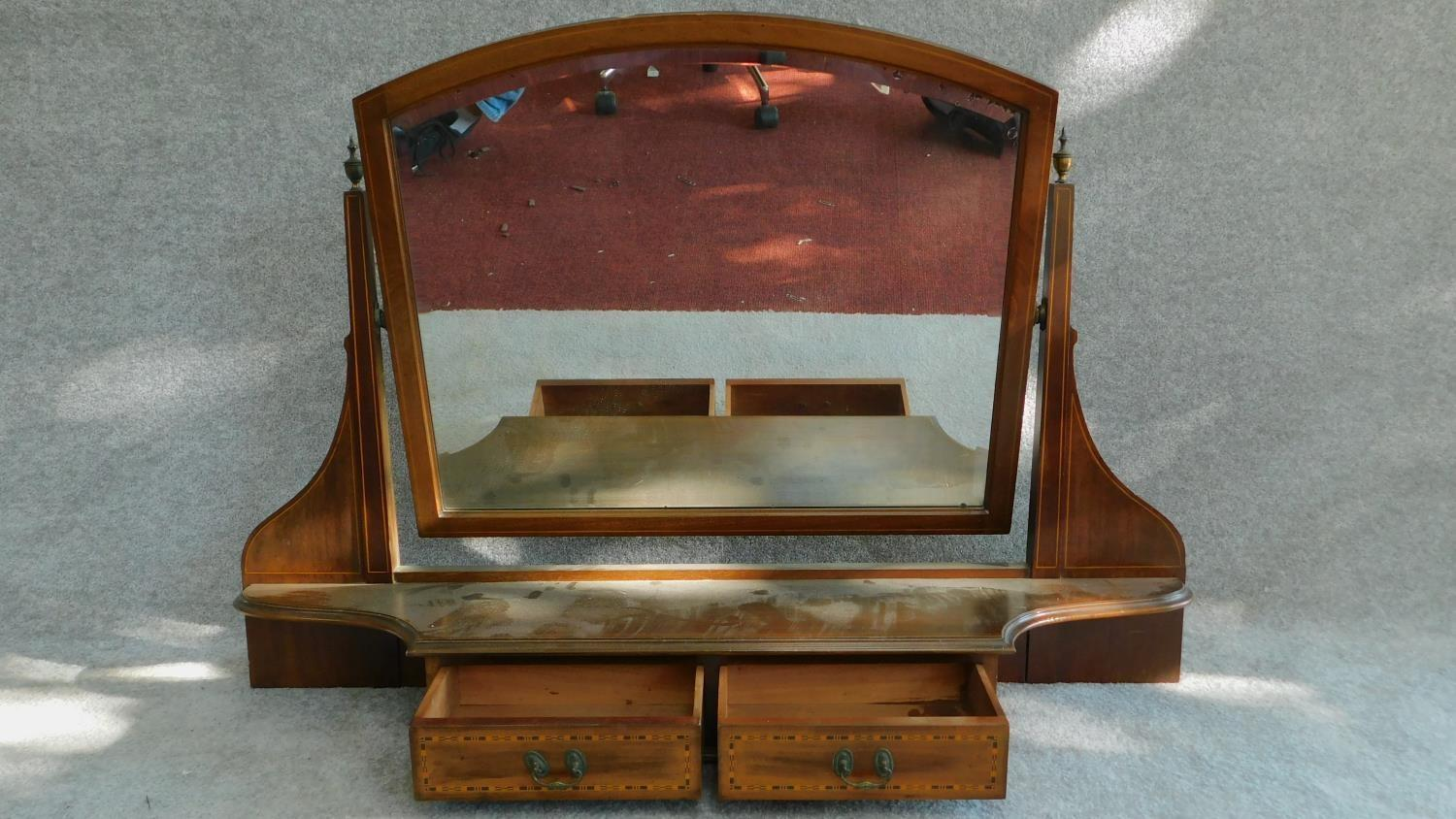 Lot 17 - A Victorian mahogany and inlaid bevelled dressing mirror with two drawers. (from a dressing table)