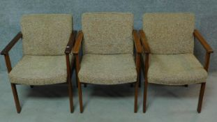 Three vintage teak armchairs with beige upholstery, by Antocks Lairn. H.80cm