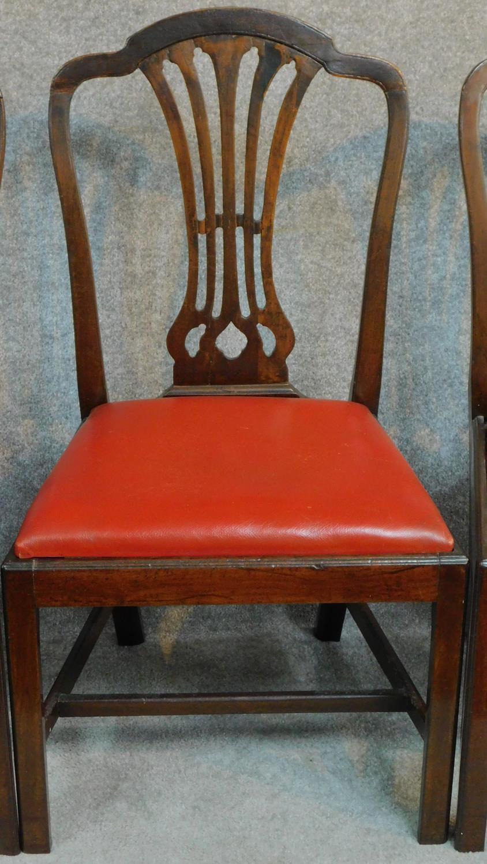 Lot 8 - A set of six Georgian mahogany Hepplewhite style dining chairs. H.98cm
