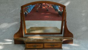 A Victorian mahogany and inlaid bevelled dressing mirror with two drawers. (from a dressing table)