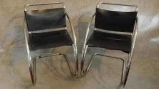 A pair of vintage Mies Van Der Rohe style MR 20 black leather lounge chairs on chrome frames. H.78cm