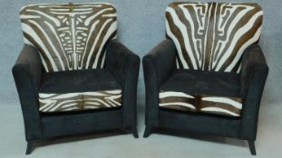 A pair of contemporary pony skin zebra print and black fabric armchairs, by Ninas House. H.92cm