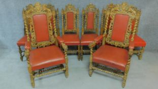 A set of eight 19th century carved oak Carolean style dining chairs in blush faux leather