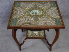 A late Victorian oak glass topped occasional table with inset collage made entirely from cigar