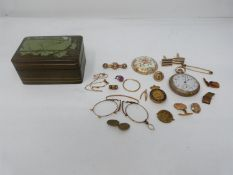 A collection of rolled gold and yellow metal jewellery. Including brooches, a pocket watch, an