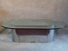 A contemporary D - end pedestal base glass table, by Rochebobois. H.36 W.125 D.73cm