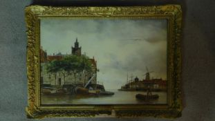 A gilt framed and glazed watercolour titled 'A bit of old Rotterdam', by J. Van Couver. 62x45cm