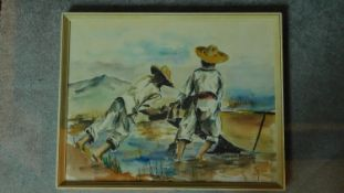 A framed and glazed watercolour of two men pushing out a boat. Signed Rafael Contreras, 1962.