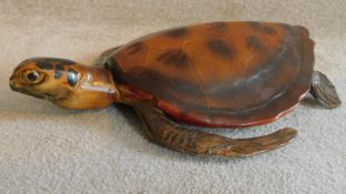 A large vintage painted ceramic Hawksbill turtle model. W.55cm
