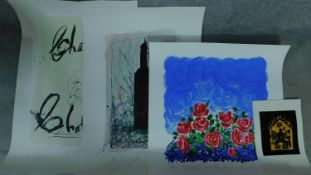 A collection of four signed coloured lithographs. One titled 'roses without thorns', indistinctly