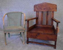 A child's teak armchair and a similar Lloyd Loom style chair. H.73 x 52cm