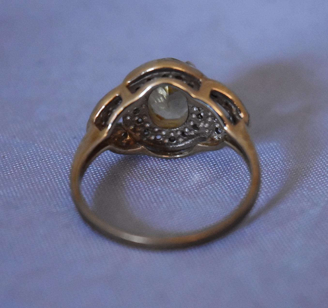 A modern Lemon apatite and zircon cluster ring. Set to centre with an oval mixed cut Lemon Apatite - Image 5 of 6