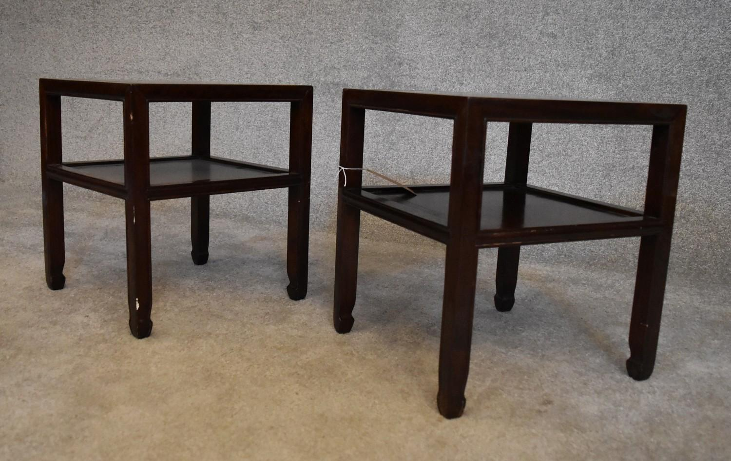 A pair of Chinese rosewood low tables on square section supports united by undertier. H.40 x 36cm - Image 3 of 3
