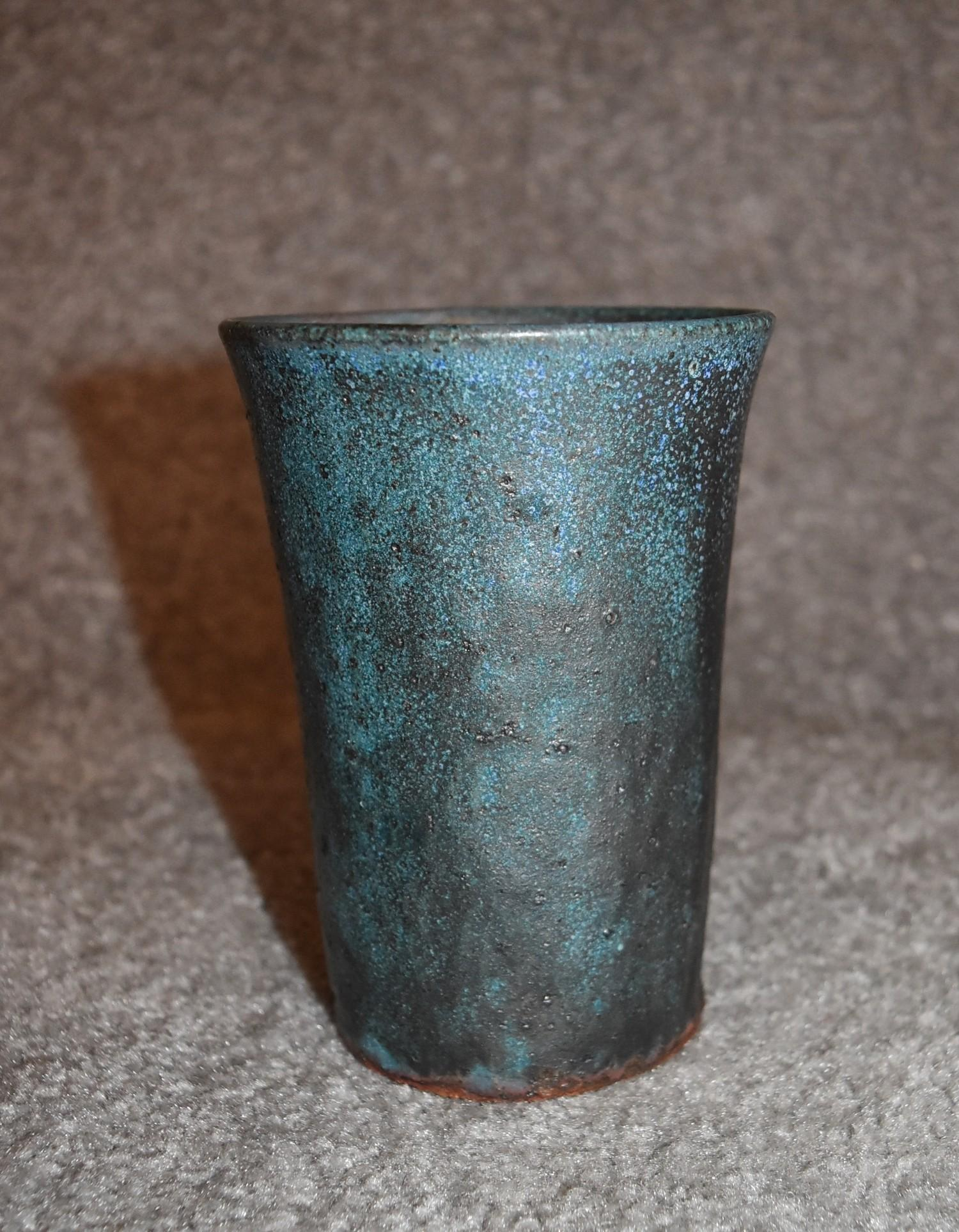 Three art pottery vases and an art pottery platter with blue glazed floral decoration. Tallest H. cm - Image 6 of 6