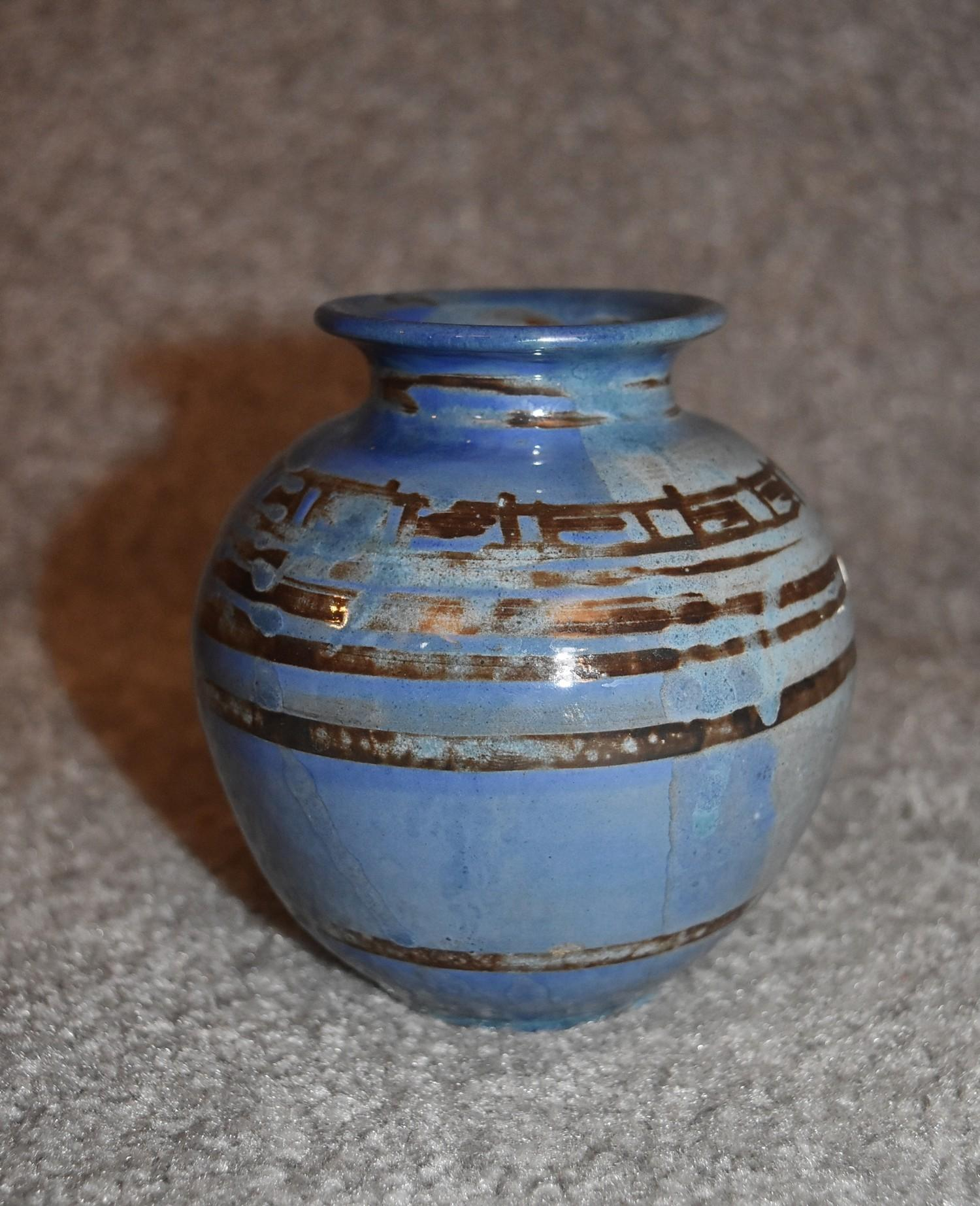 Three art pottery vases and an art pottery platter with blue glazed floral decoration. Tallest H. cm - Image 5 of 6