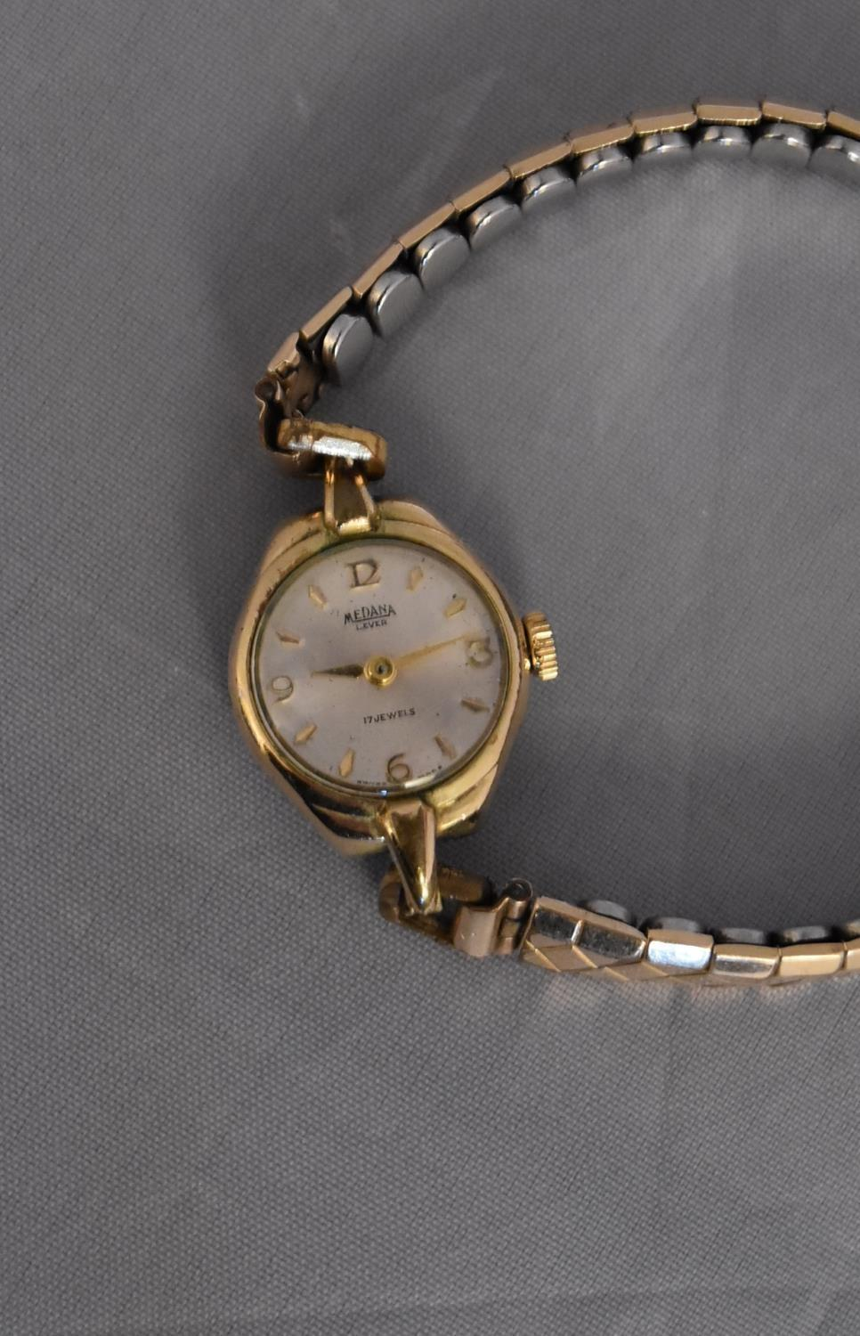 A vintage ladies gold plated hand wound Medana watch. White enamel dial with gold plated markers, on - Image 4 of 7