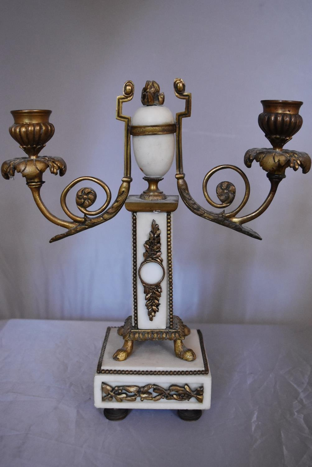 A pair of 19th century brass candlesticks and an ormolu mounted twin branch candelabra. H.26cm - Image 3 of 3