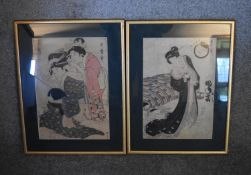 A pair of framed and glazed Japanese watercolours, Geishas, signed. (Damage to glass on one) H.49