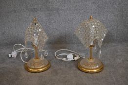A pair of gilt metal and crystal handkerchief table lamps. H.42 x 20cm