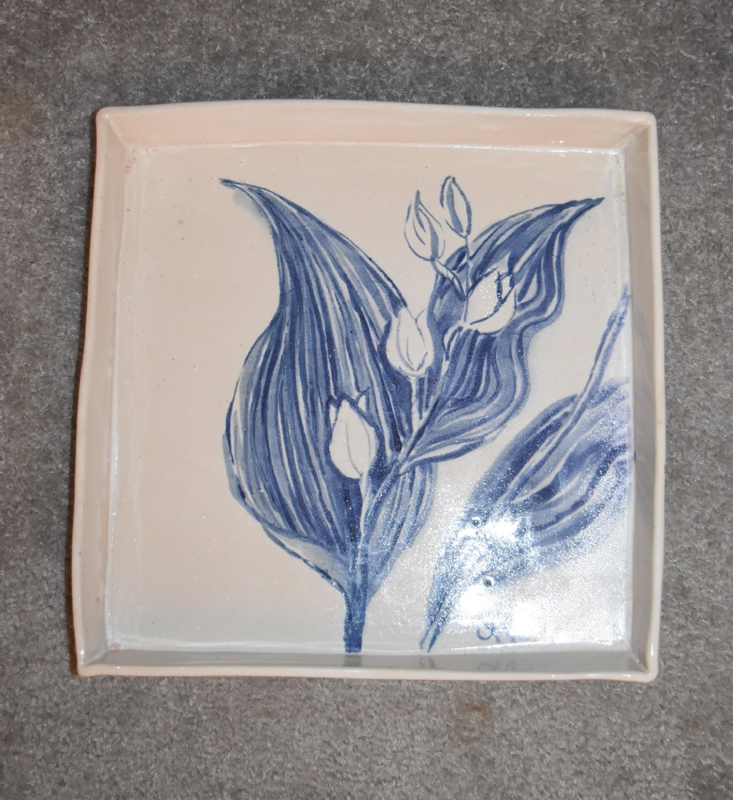 Three art pottery vases and an art pottery platter with blue glazed floral decoration. Tallest H. cm - Image 2 of 6