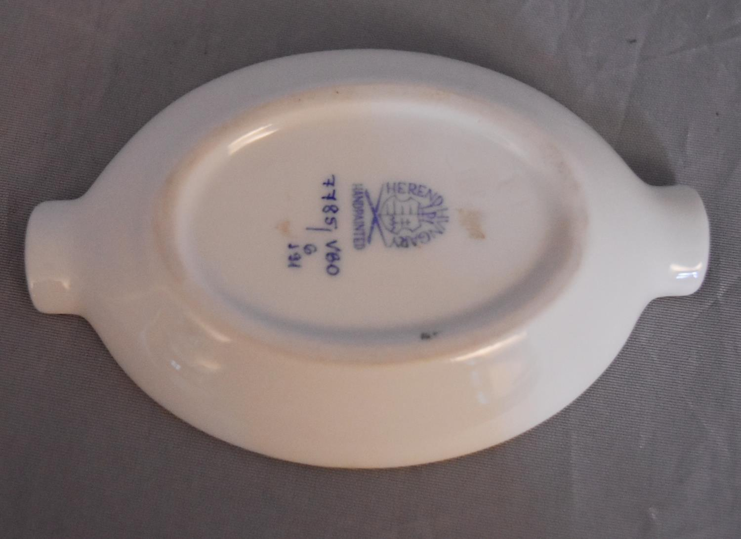 A collection of hand painted porcelain and ceramics. One Herend Ash tray with floral design and - Image 8 of 8