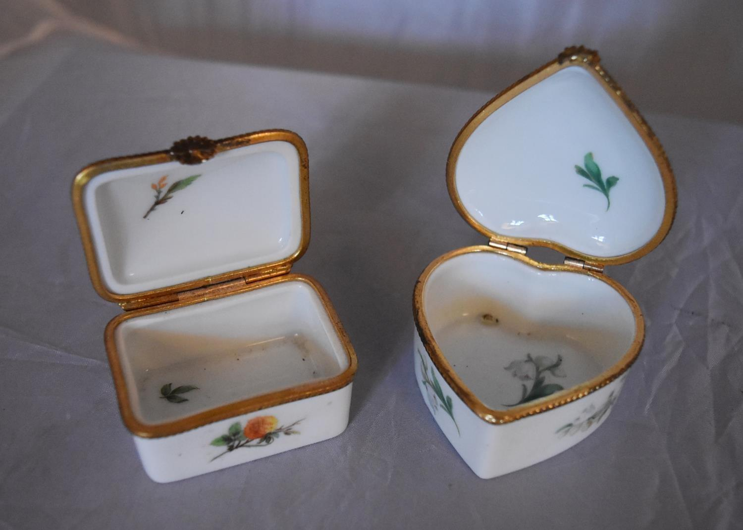 Three French Dubarry Limoges porcelain trinket boxes with floral design and gilded rope effect brass - Image 3 of 7
