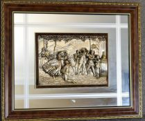 A framed mirror with applied silver moulded tableau depicting musicians and dancing. 72cm x 60cm.