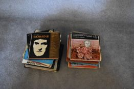 A collection of LP's by Beethoven, Bach, Mozart, various other artists and a Shakespeare Macbeth