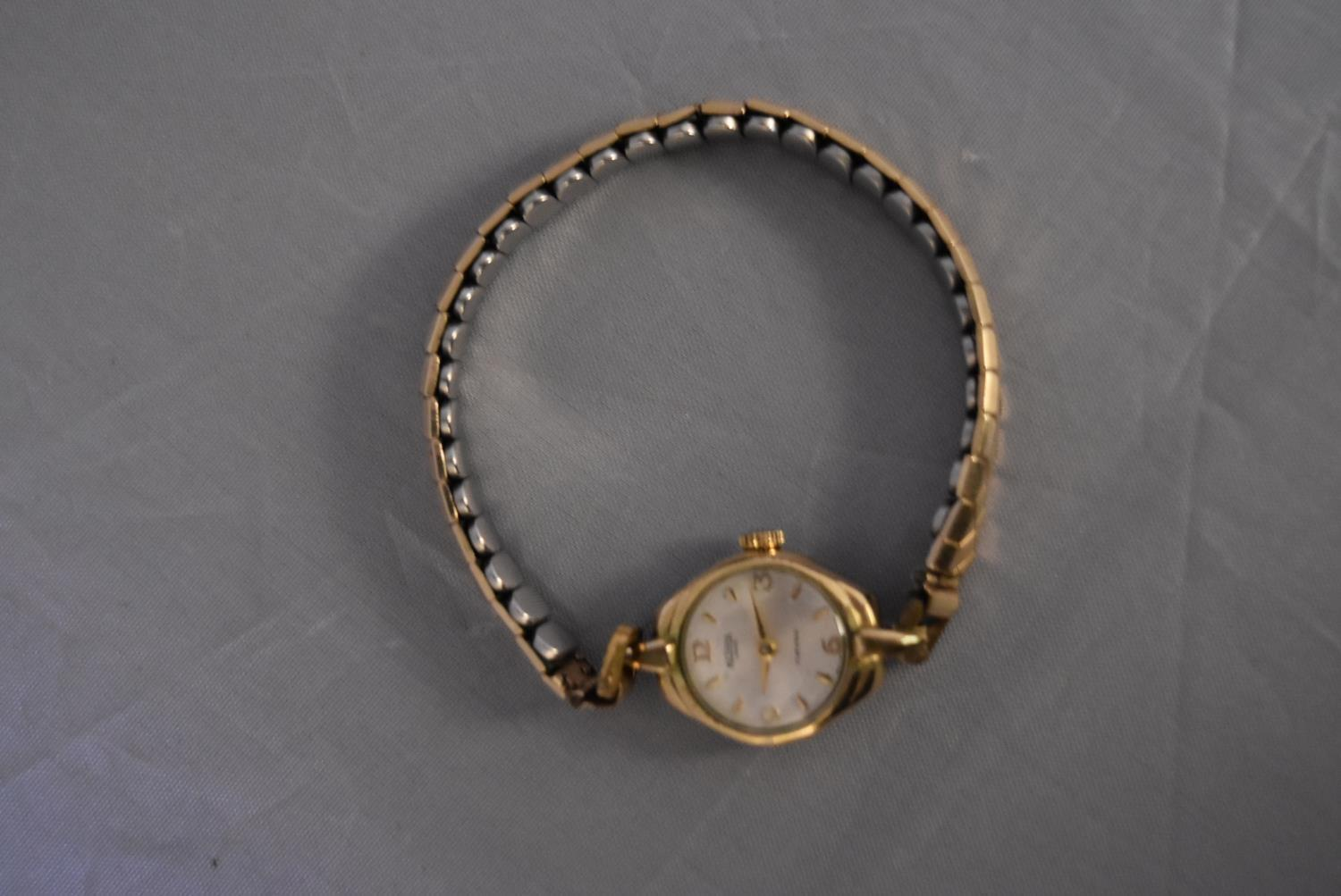 A vintage ladies gold plated hand wound Medana watch. White enamel dial with gold plated markers, on - Image 3 of 7