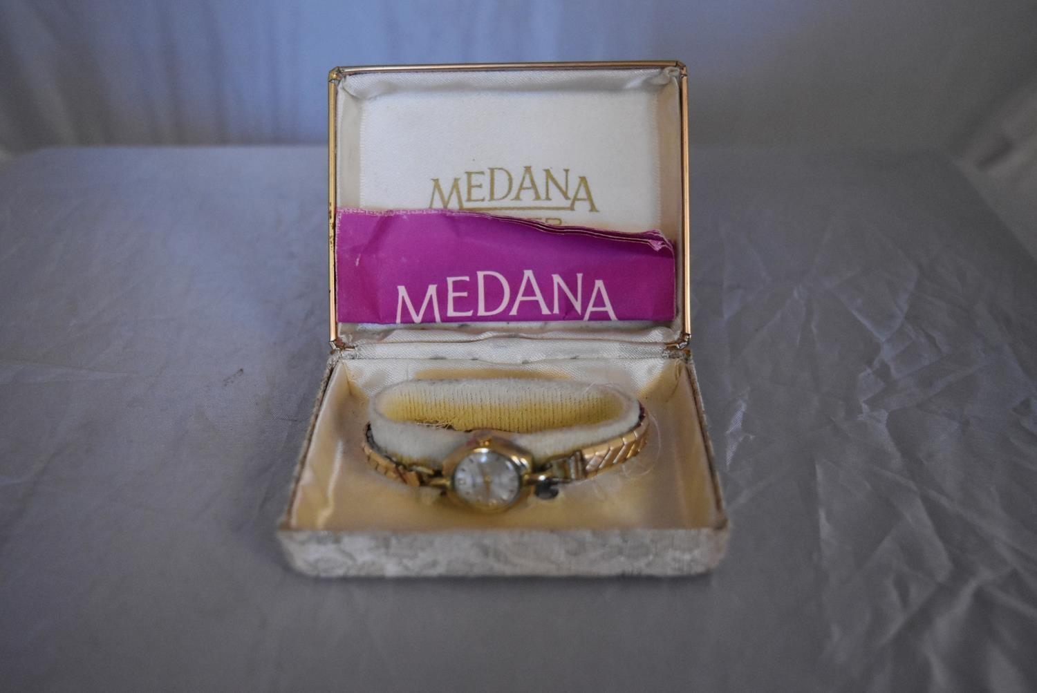 A vintage ladies gold plated hand wound Medana watch. White enamel dial with gold plated markers, on - Image 2 of 7