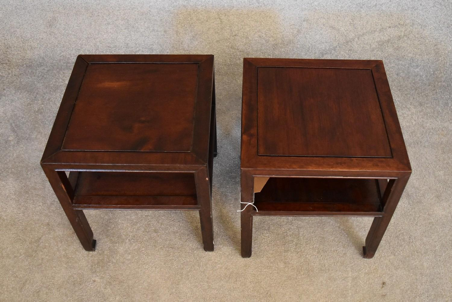 A pair of Chinese rosewood low tables on square section supports united by undertier. H.40 x 36cm - Image 2 of 3