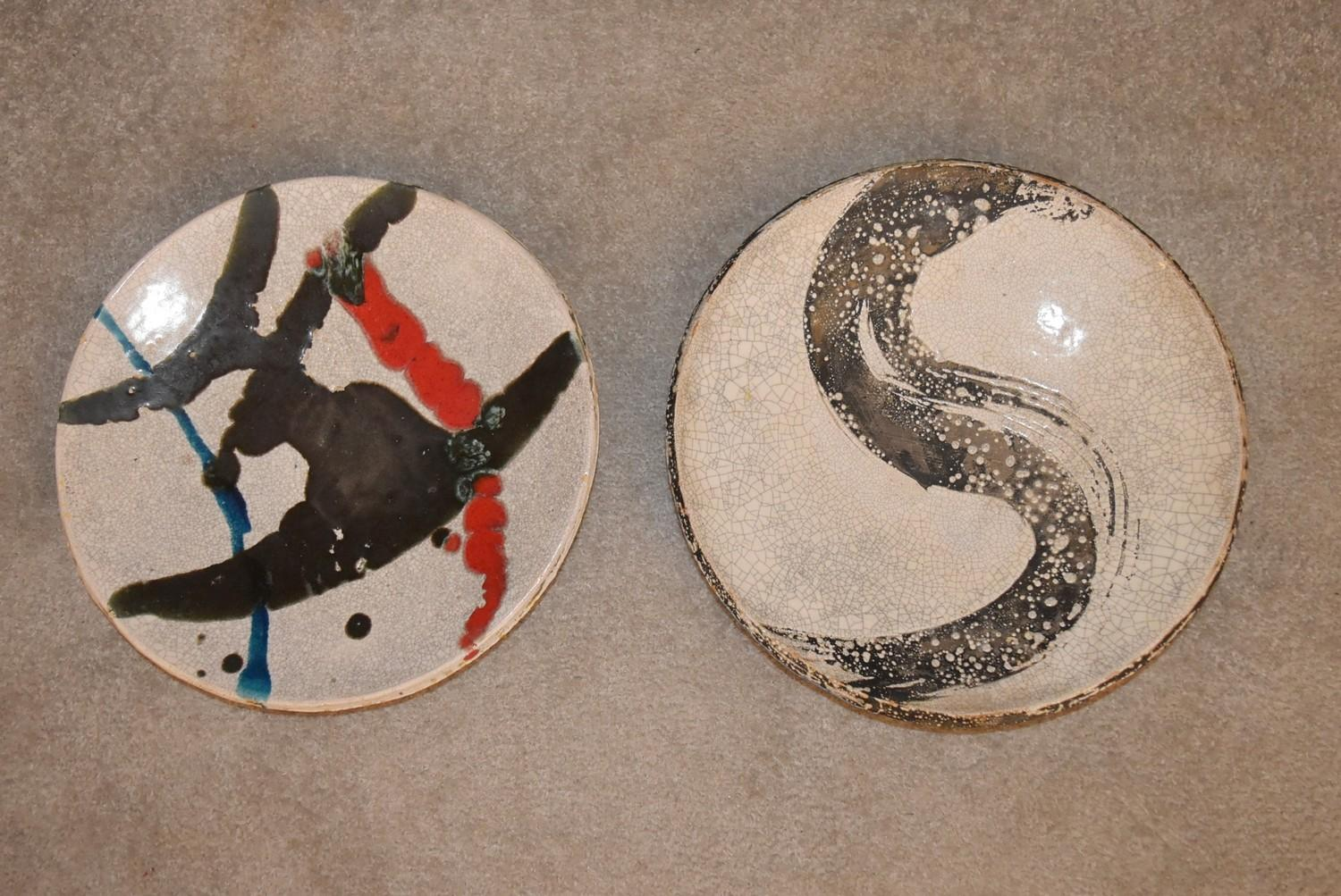 A pair of Art pottery shallow bowls. Dia. 33cm