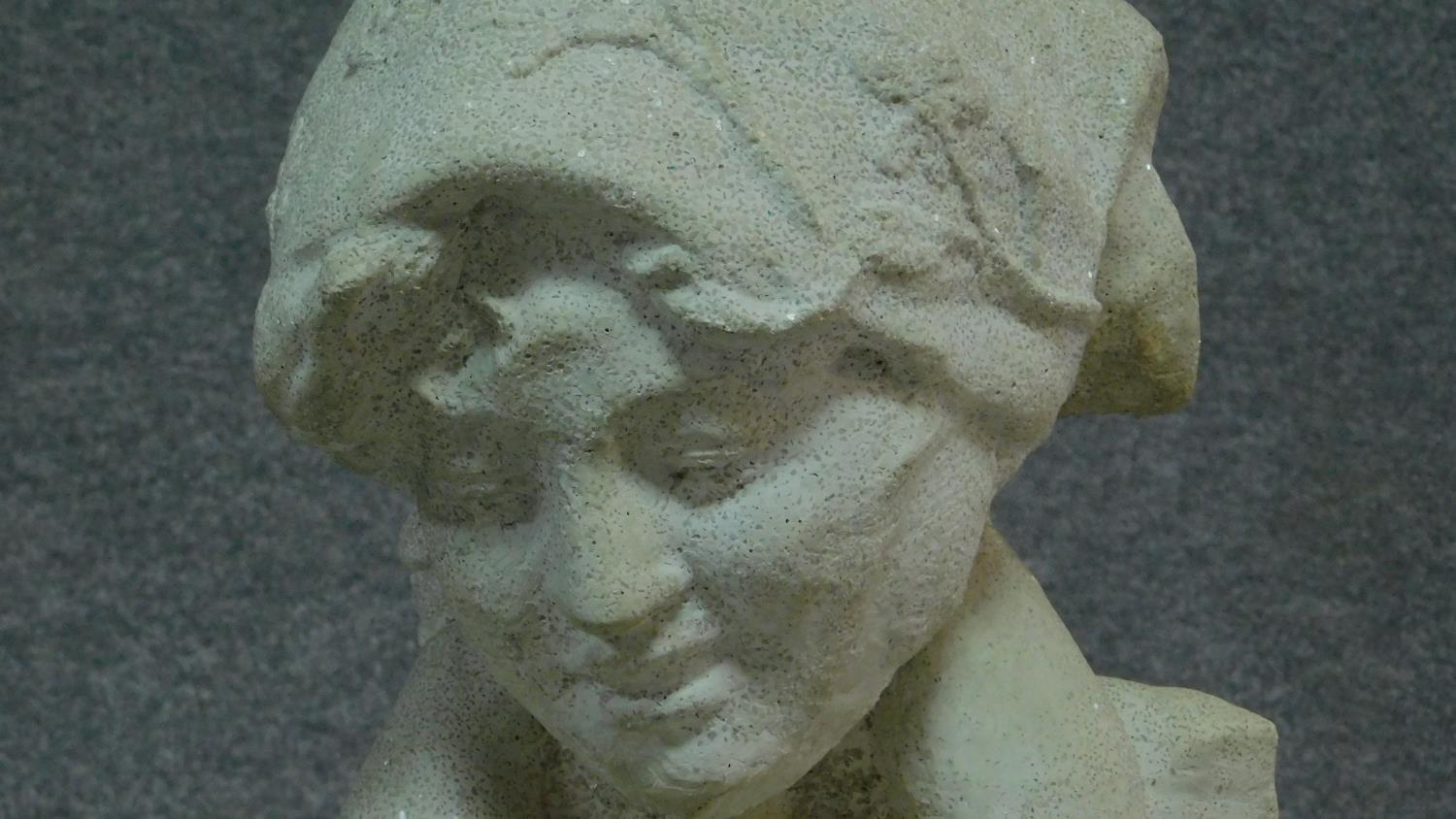 A stone bust of mother and child, the mother is looking down at her son who has his arms around - Image 3 of 5
