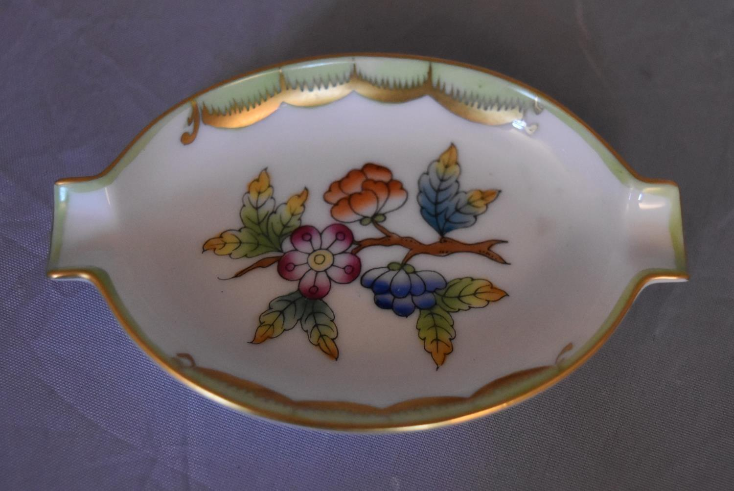 A collection of hand painted porcelain and ceramics. One Herend Ash tray with floral design and - Image 7 of 8