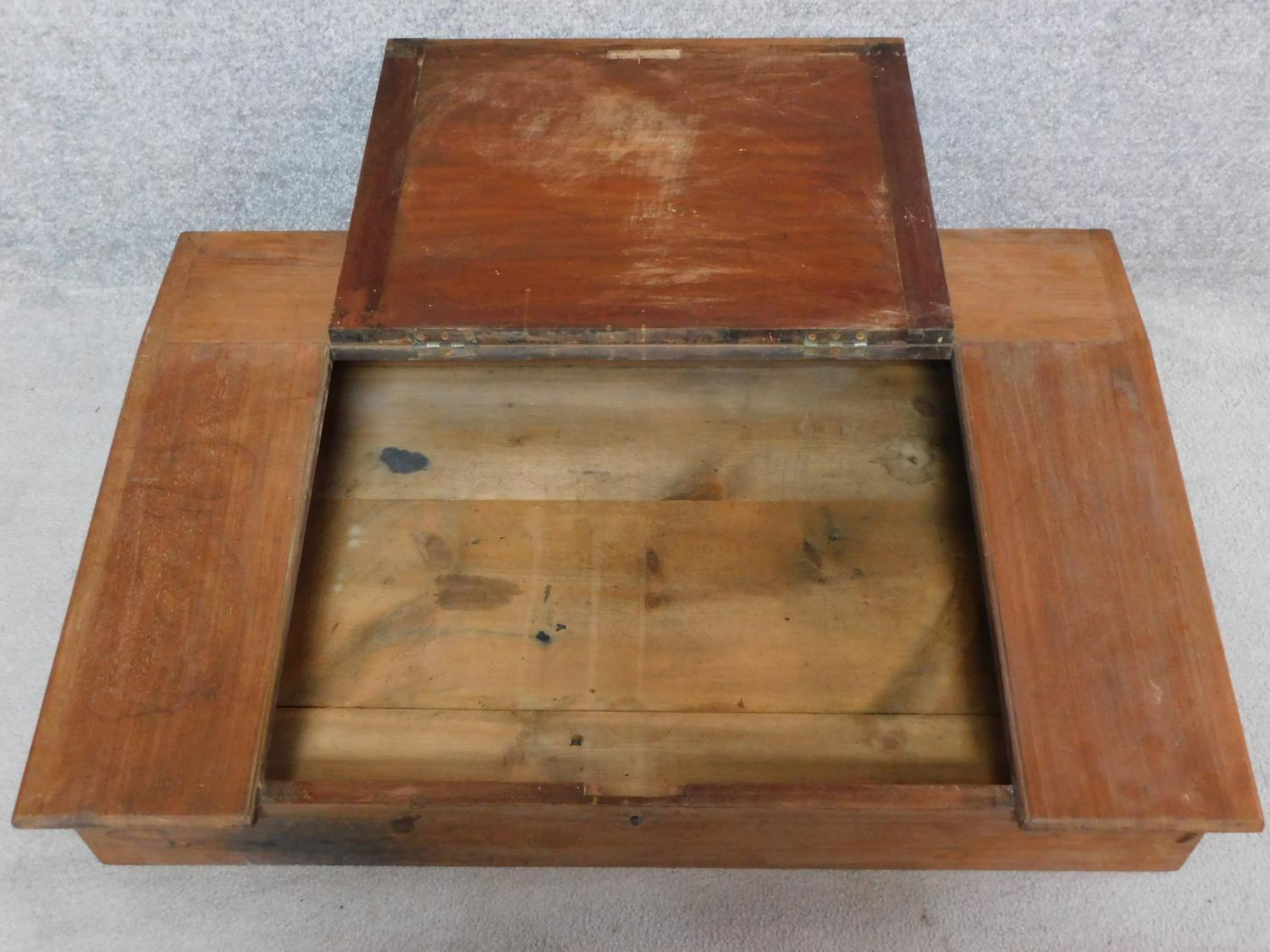 A 19th century mahogany table top clerk's writing desk. H.22 W.107 D.70cm - Image 2 of 3