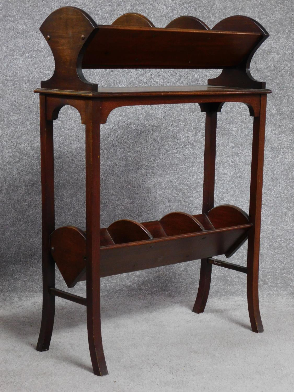 A late Victorian mahogany book trough with under tier, raised on square stretchered swept - Image 2 of 4