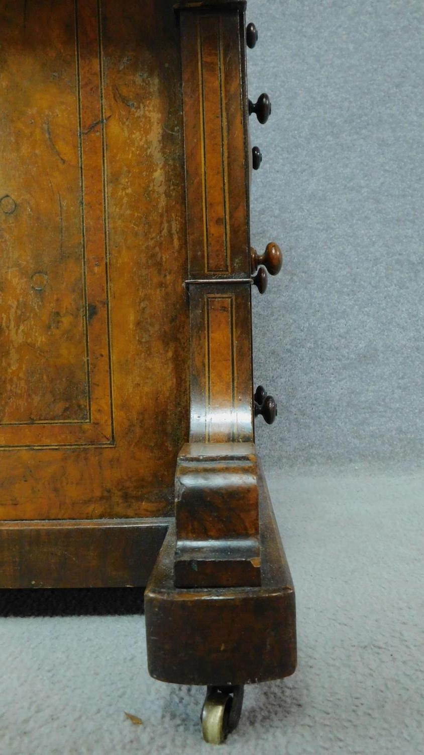 A mid Victorian walnut and satinwood inlaid Davenport with green leather top enclosing fitted - Image 7 of 8