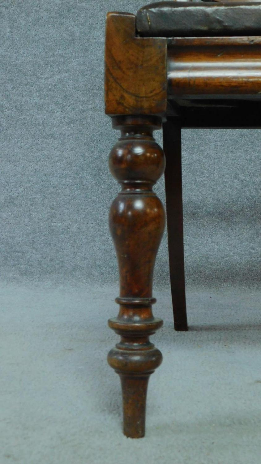 A set of six mid Victorian mahogany shaped back dining chairs raised on bulbous turned supports. - Image 5 of 7