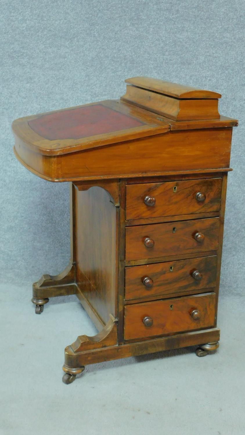 A Victorian burr walnut and satinwood Arabesque inlaid Davenport fitted with four drawers opposing - Image 2 of 8