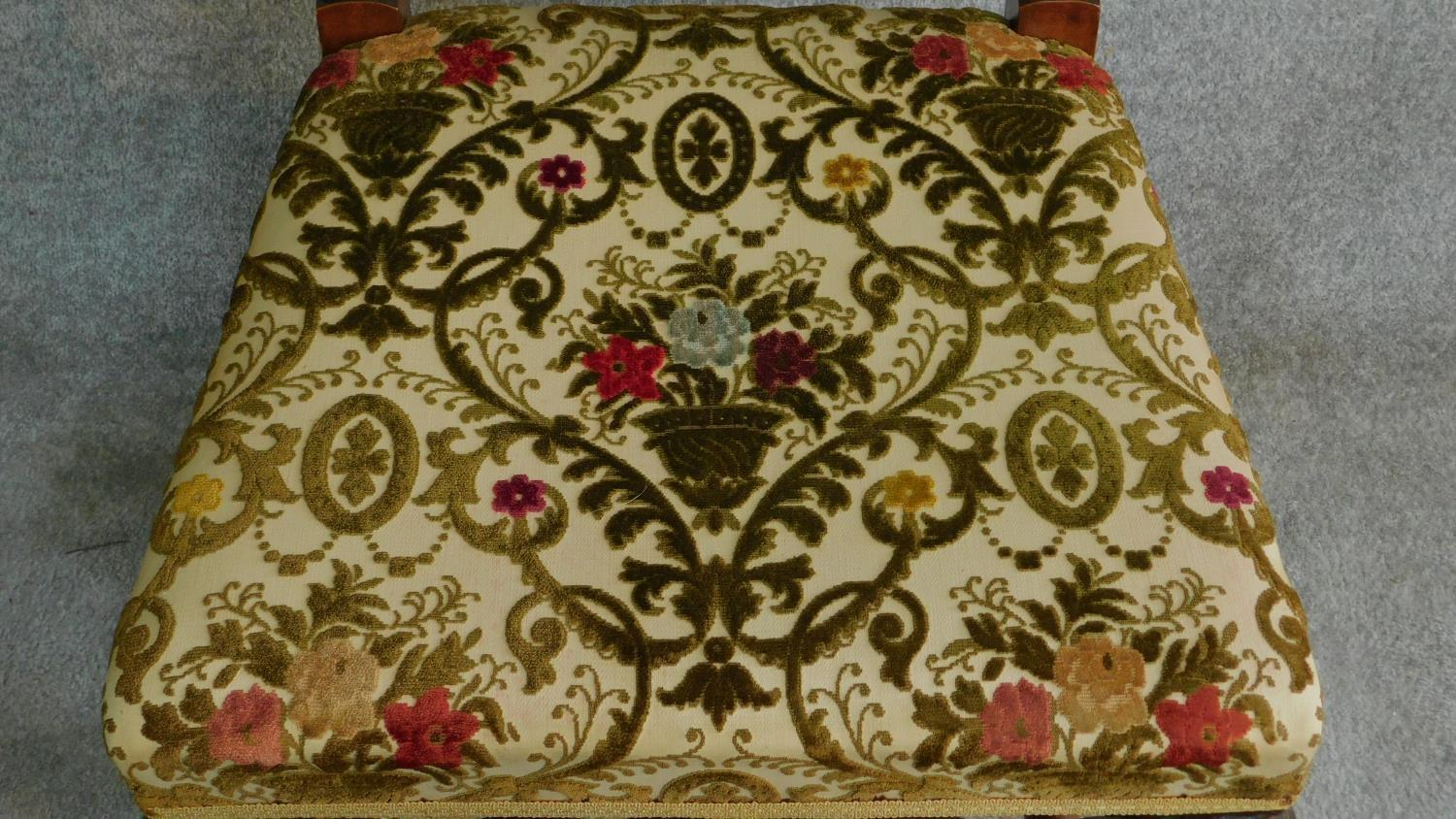 A Victorian carved oak armchair with tapestry style floral upholstery, raised on stretchered - Image 4 of 6