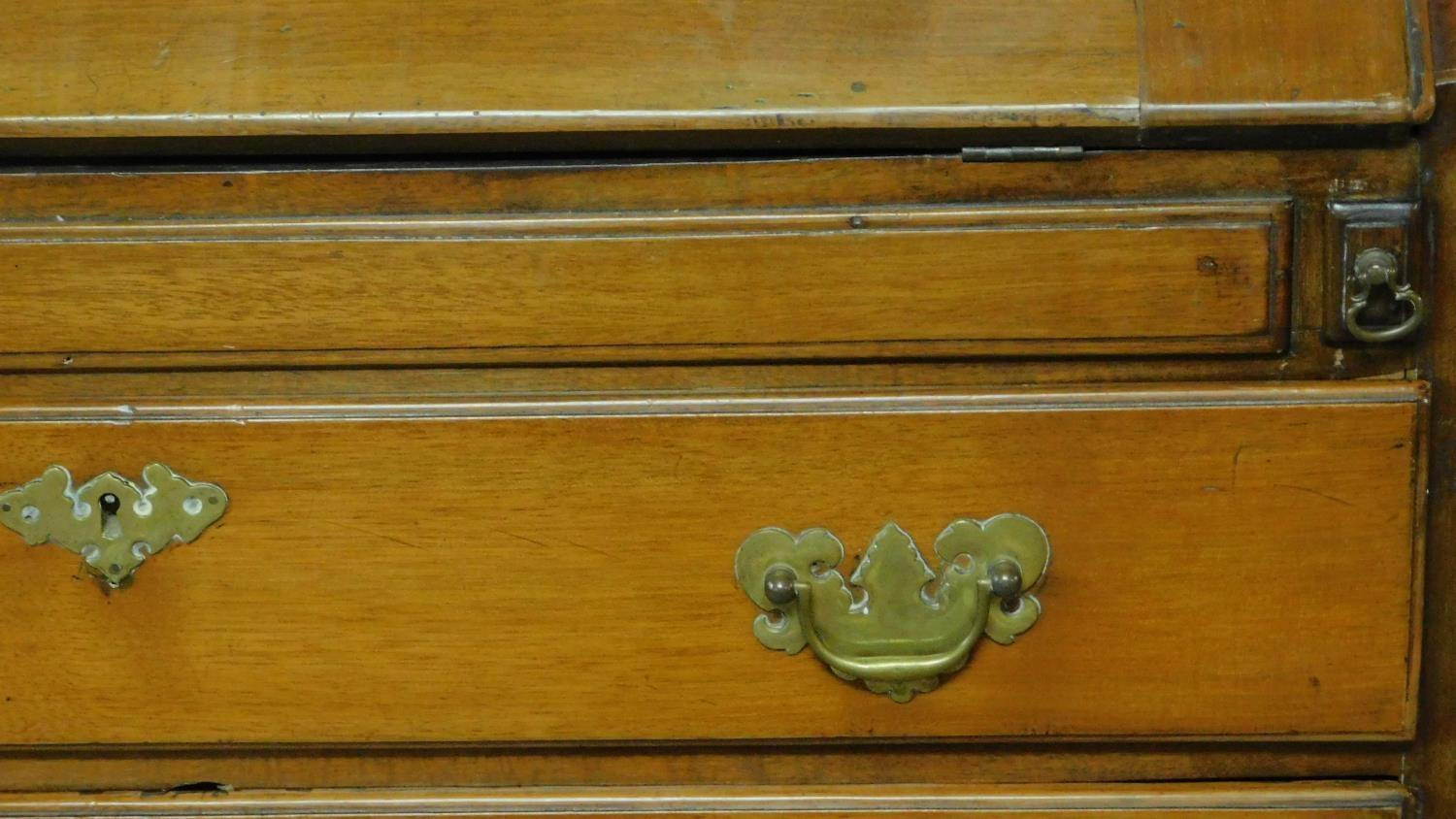 A Georgian mahogany bureau with three large drawers and inside fittings, raised on bracket feet. H. - Image 5 of 5