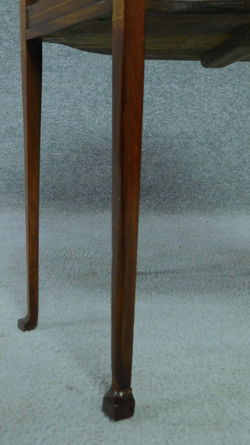 An Arts & Crafts mahogany and satinwood inlaid hexagonal carved lamp table raised on square tapering - Image 5 of 5