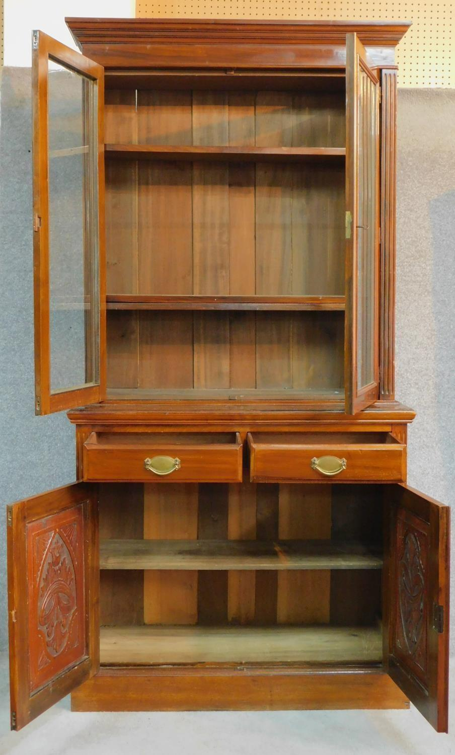 A late 19th century walnut library bookcase with glazed upper section above pair of frieze drawers - Image 2 of 4