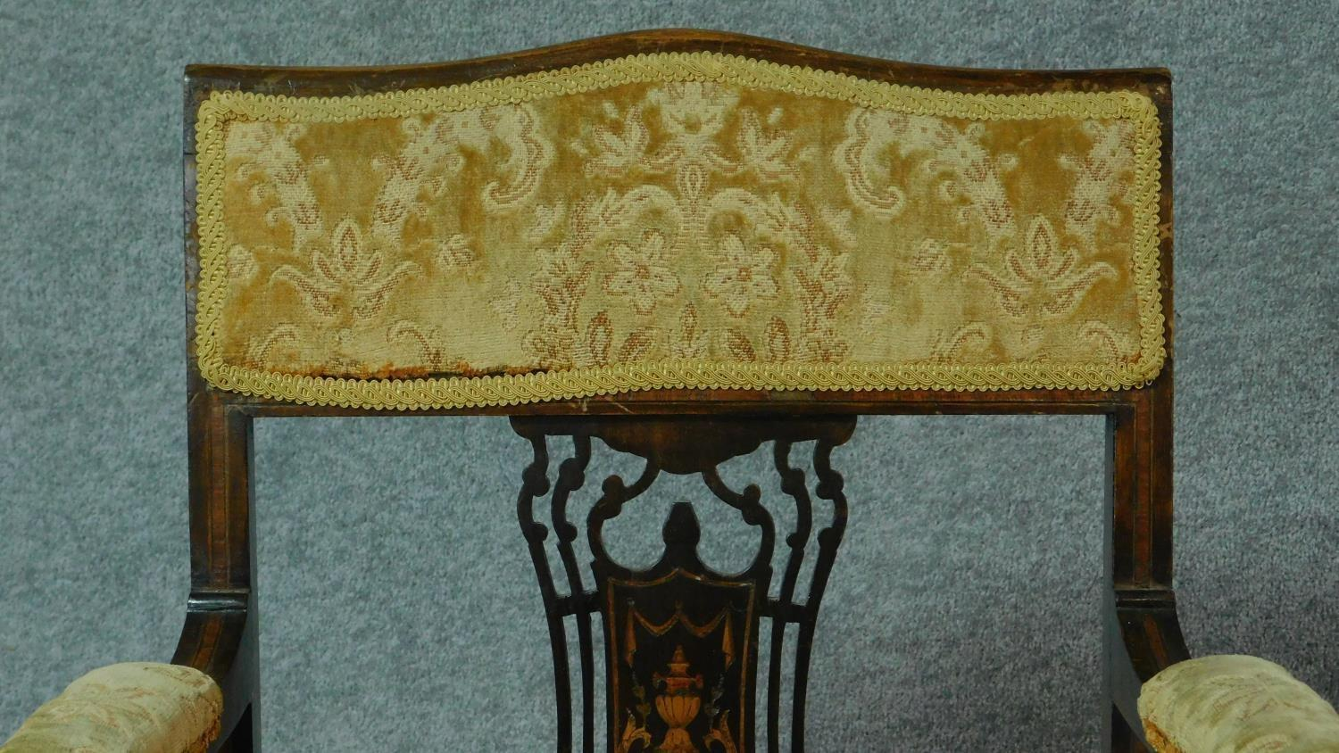 A late Victorian mahogany and satinwood inlaid armchair with urn design to the back, floral - Image 2 of 7