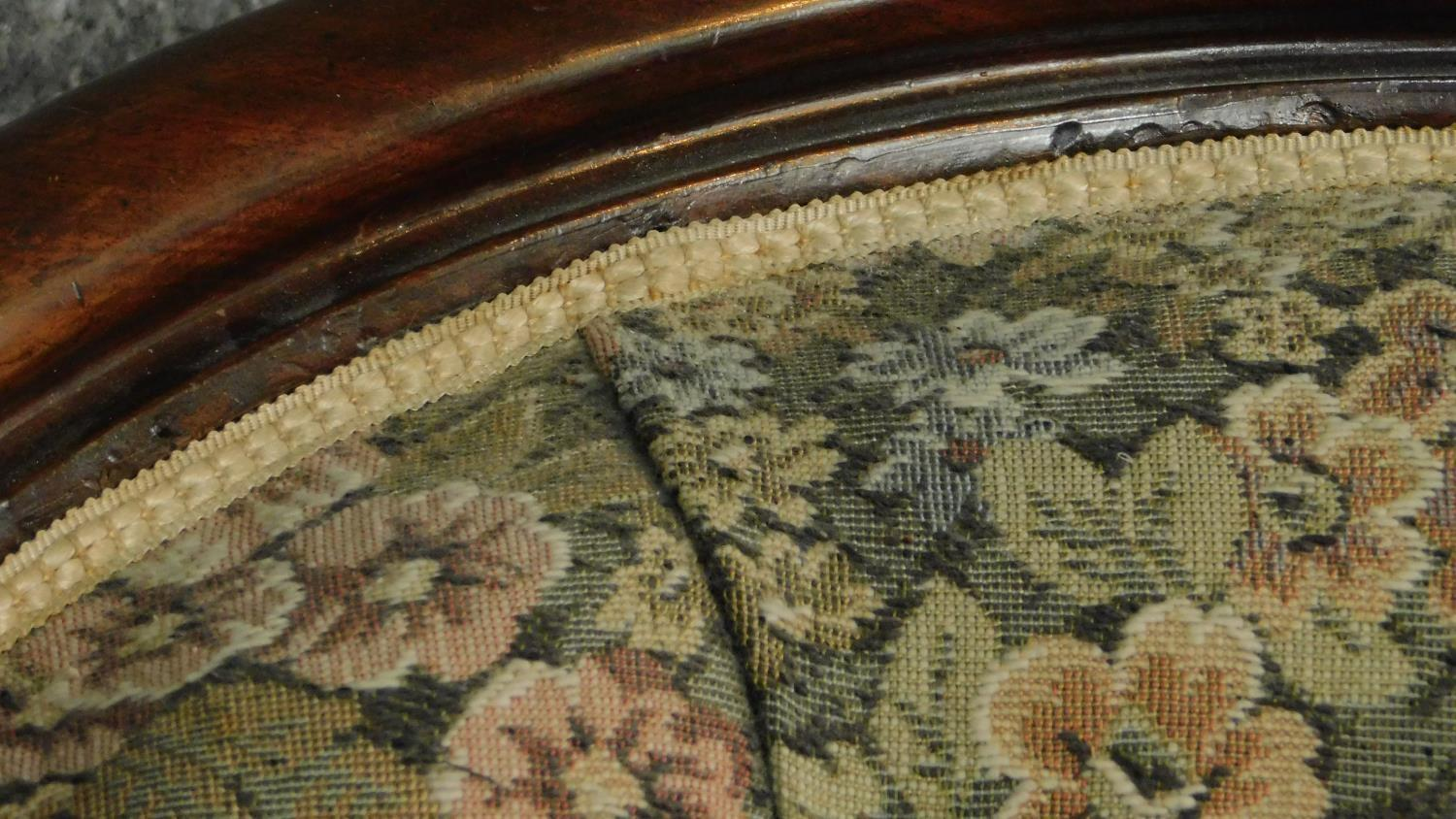 A Victorian mahogany framed floral upholstered buttoned back armchair raised on carved cabriole - Image 3 of 6