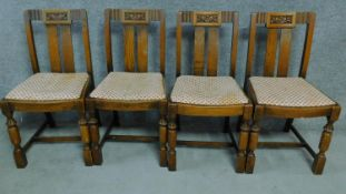 A set of four mid 20th century Art Deco style oak dining chairs. H.86cm