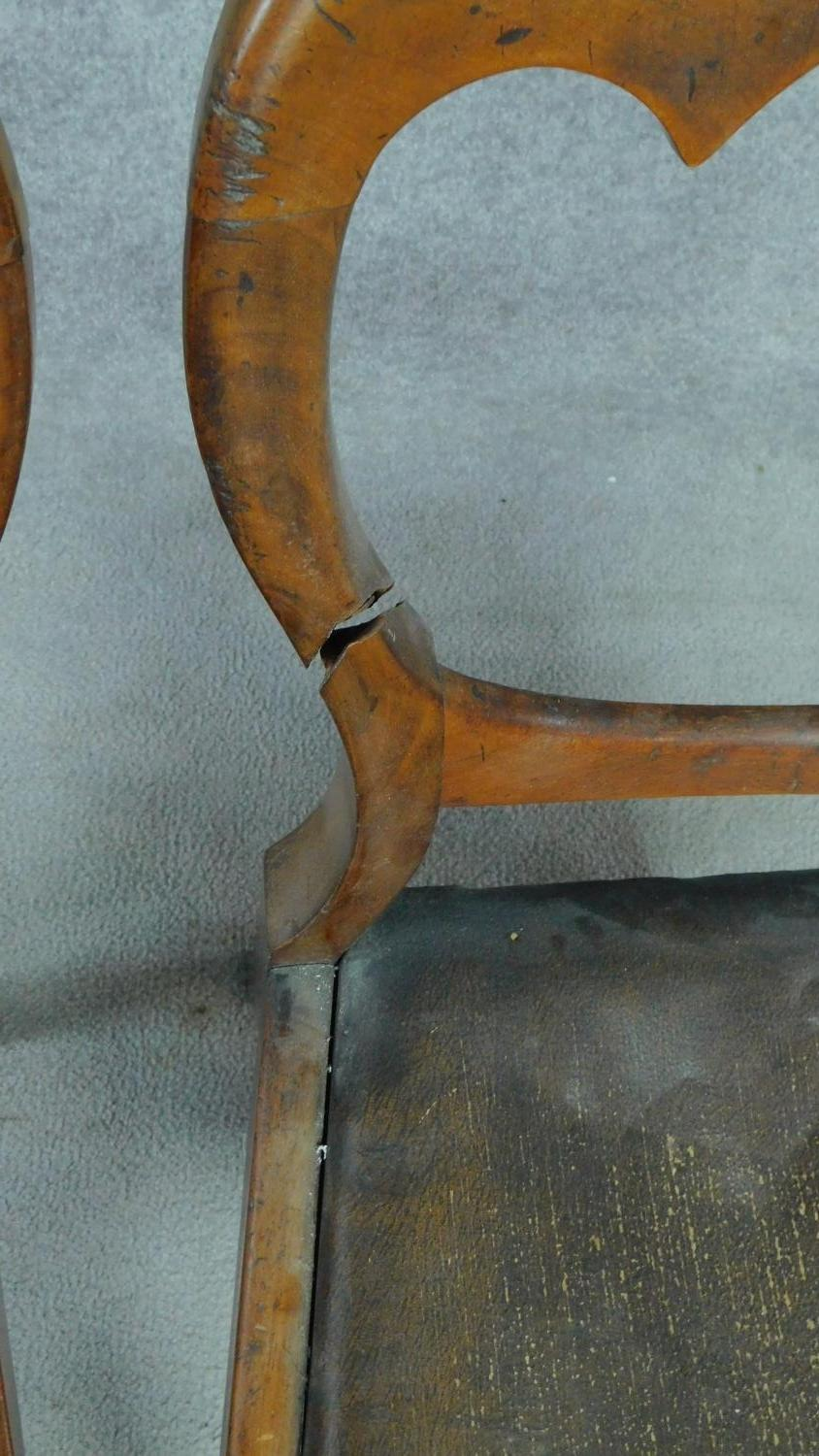 A set of six mid Victorian mahogany shaped back dining chairs raised on bulbous turned supports. - Image 7 of 7