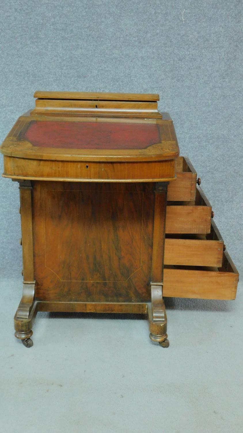 A Victorian burr walnut and satinwood Arabesque inlaid Davenport fitted with four drawers opposing - Image 4 of 8